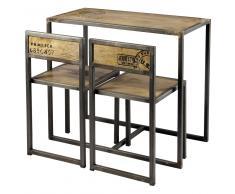 Tavolo per sala da pranzo + 2 sedie in mango e metallo 90 cm Manufacture