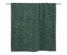 Asciugamano in cotone verde con motivi a foglie, 70x140