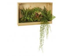 Decorazione da parete in legno di paulonia con piante artificiali