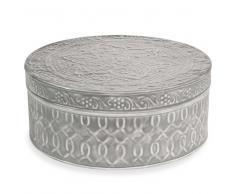 Scatola grande rotonda in metallo grigio D 24 cm SHEVA TRIBU