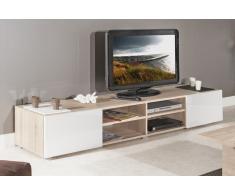 ATLANTIC Mobile TV rovere Bardolino con porte laccato bianco lucido. Modello di grandi dimensioni