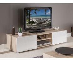 ATLANTIC Mobile TV rovere Bardolino con porte laccato bianco lucido. Modello medio