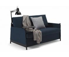 Divano letto design NEAT grigio blu 135*200 cm mensola integrata e lampada