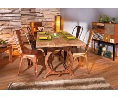 O TONE Tavolo da pranzo stile industriale in massello di legno