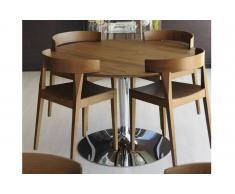 PLANET di CALLIGARIS Tavolo da pranzo rotondo 120x120 noce con base acciaio cromato