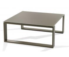 TACOS Tavolino quadrato in vetro smerigliato talpa
