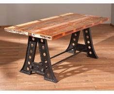 AMAR Tavolo da pranzo singolo in legno di mango riciclato e acciaio