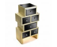 VARESE Cassettone in vetro nero con 6 cassetti design oro