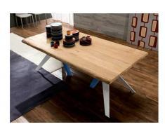 TRIO Tavolo da pranzo in massello di rovere naturale con gambe bianco e blu