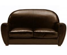 Divano CLUB 2 posti in pelle riciclata marrone lucido
