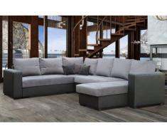 LISTOWEL Divano ad angolo letto trasformabile nero e grigio con angolo di panoramica