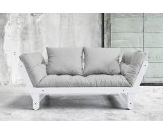 Divano letto trasformabile BEAT bianco 75*200cm, futon grigio