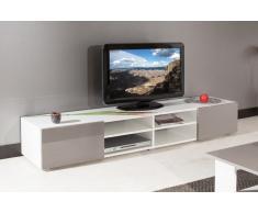 ATLANTIC Mobile TV bianco con porte laccato tortora lucido L185cm