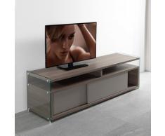 TALAC Mobile TV design olmo con due porte scorrevoli laccato talpa opaco