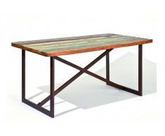 COLORI Tavolo da pranzo singolo in legno di mango riciclato e acciaio