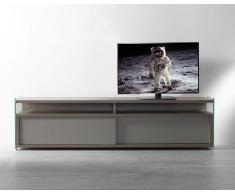 TALAC Mobile TV design noce con due porte scorrevoli laccato grigio