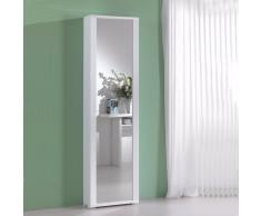 Scarpiera bianco con una anta a specchio MILLENIUM