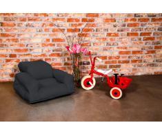 HIPPO Poltrona letto per bambini futon grigio scuro 65*140*12cm