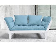 Divano letto trasformabile BEAT bianco 75*200cm, futon blu celeste