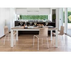BARON di CALLIGARIS Tavolo allungabile 130x85 in legno naturale e gambe in metallo laccato bianco