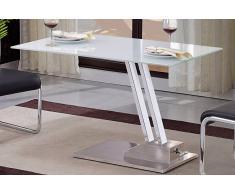 STEP Tavolino trasformabili in vetro serigrafato bianco