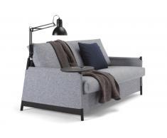 Divano letto design NEAT granito grigio 135*200 cm mensola integrata e lampada