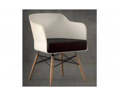 NORDIKA Sedia bianca design con gambe in massello di faggio