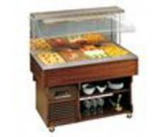 Forniture ristorazione - Espositore buffet a muro caldo - mod. walldry - struttura in legno - vasca in acciaio inox - temp. °c +30/+70