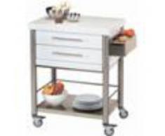 Forniture ristorazione - Carrello da cucina - mod. 690702 auxilium - in acciaio inox - piano da lavoro e coperture in corian bianco - con n.2 cassetti