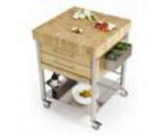 Forniture ristorazione - Carrello da cucina - mod. 693772 auxilium - in acciaio inox - piano di lavoro tassellato e coperture listellari in carpino bianco - con n.2 cassetti