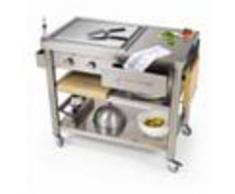 Forniture ristorazione - Carrello da cucina - mod. 697110 teppan yaki - in acciaio inox mod 697110 - con piastra elettrica teppan yaki - 2 zone di cottura - da 50° ÷ 250°
