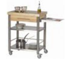 Forniture ristorazione - Carrello da cucina - mod. 692701 auxilium - in acciaio inox - piano da lavoro e coperture in carpino bianco listellare - con n.1 cassetto