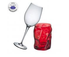 Bormioli Set Red Edition 6 Calici Da Vino Rosso E 6 Bicchieri Sorgente Rossi