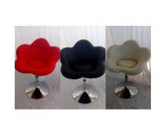 Poltrona parrucchiere modello Fiore in ecopelle gamba cromata uso professionale - Nero