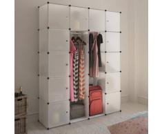 vidaXL Scaffale armadietto modulare con 14 scomparti bianco 37 x 150 190 cm