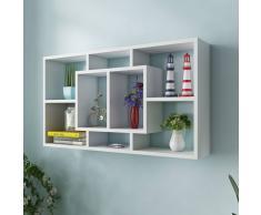 vidaXL Libreria da parete scaffale mensola a muro con 8 scomparti bianco