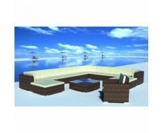 vidaXL Set 35 pz seduta da giardino mobile polirattan marrone