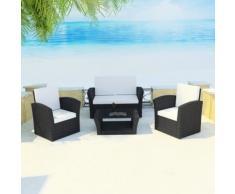 vidaXL Set seduta da giardino in polirattan nero con cuscini