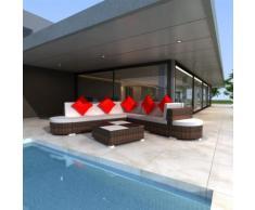 vidaXL Set 27 pz seduta da giardino mobile polirattan marrone