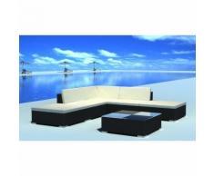 vidaXL Set da seduta da giardino in polirattan nero 15 pz
