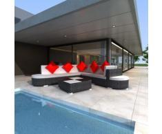 vidaXL Set 27 pz seduta da giardino mobile in polirattan nero