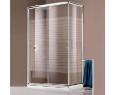 Box doccia angolare in cristallo serigrafato da 6 mm 80X100 Profilo cromo Brillante - GIAVABOX