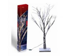 Albero di Natale 48 LED Luminoso Luce Bianco Caldo Innevato Altezza 120 cm - CHRISTMAS GIFTS
