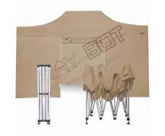 Gazebo Pieghevole 3x4,5 BEIGE RAY BOT + 4 Teli Laterali PVC 350g