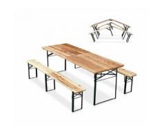 Set birreria pieghevole tavolo panche legno feste giardino sagre 220x80 - PRODUCESHOP