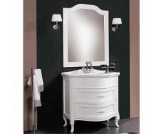 Mobile da bagno contemporaneo curvo a terra da cm 90x56 con specchio e coppia di applique : Finitura
