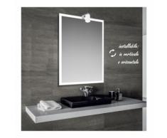 Iced - specchio reversibile da bagno con cornice sabbiata 60x80 cm con lampada alogena 25w - BATHMAN