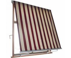 Tenda Da Sole Avvolgibile A Caduta Con Braccetti 3x2,45 M Per Finestra Balcone Beige/bordeaux