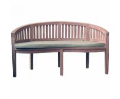 Panchina da giardino in legno con cuscino color salvia - GREENWOOD