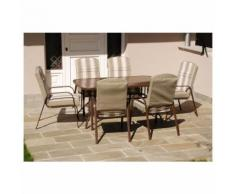 Set da giardino mod Austen dining rigato con tavolo e 6 poltrone cuscino - SAL MAR